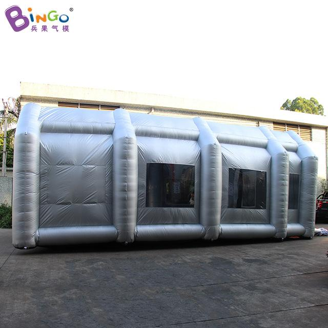 Silver color Inflatable paint spray booth with filters Hot sale 9 2X5 8X3 7  Meters blow up spray paint tent toy tents