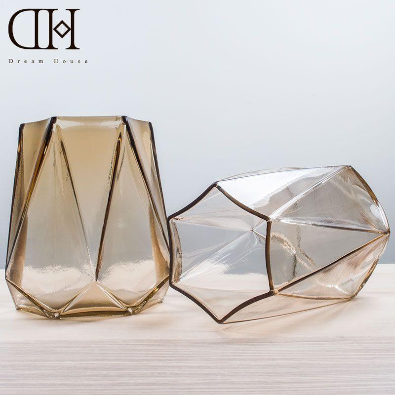Geometry Theme Amber Color Glass Vase Home Decoration Flower Pot