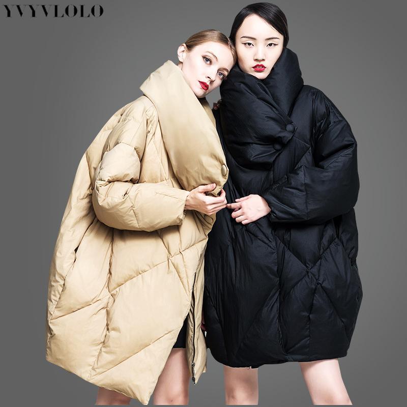 0888a428e6af Compre Yvyvlolo Diseño De Cuello Alto Europeo Chaqueta De Invierno Para  Mujer 2018 Nuevo Listado Parkas Abrigo De Invierno Femenino Moda Suelta  Abrigo De ...