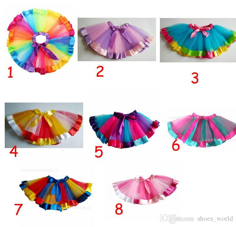 2018 Sweet Toddler Kid Baby Girls Skirt Tulle Tutu Ballet Rainbow Colorful Dance Wear Pettiskirt Skirts 0-10Y Best Birthday Gifs