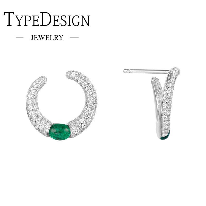 11d9d6288de0 Compre TIPO JOYERÍA Pendiente De Anillos De Caramelo Verde Para Mujer En  Plata Con Diamantes A  29.58 Del Cupwater