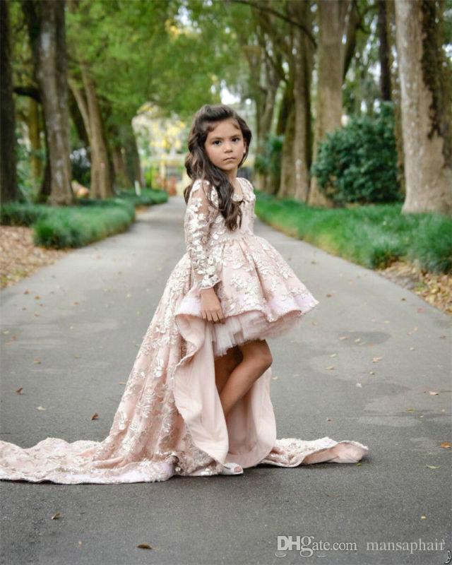 Flor rosa vestidos de niña Alto Bajo manga larga con cuello en V Applique del cordón riza el desfile de chicas Vestidos niños una línea para niños de baile Dres del partido