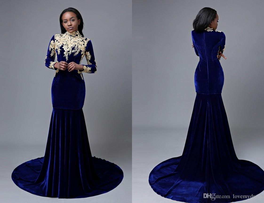 0c060b6e0b Fashion Velvet Mermaid Prom Dress Cheap Royal Blue Long Sleeves 2018 Gold  Lace Applique Sweep Train Zipper Evening Formal Dress Gowns Navy Blue Prom  Dresses ...