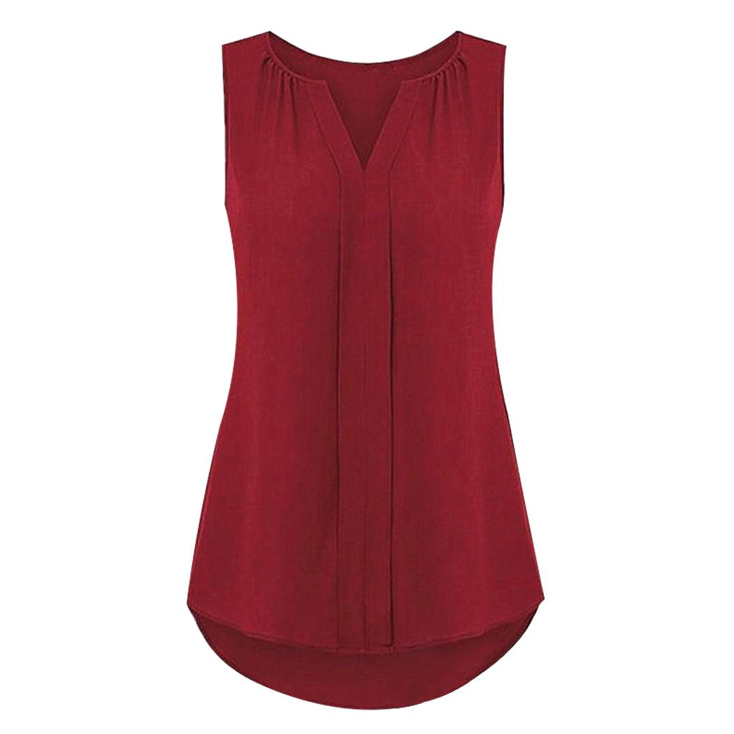 13d2d19b16c92 New Summer Women Chiffon Tank Tops Sexy V-Neck Sleeveless Pleated ...