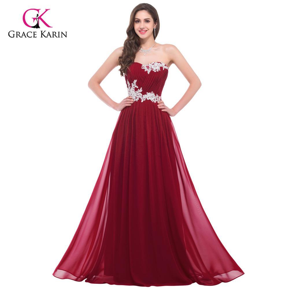 Long Evening Dress Grace Karin Elegant Chiffon Blue Women 2018 New ...