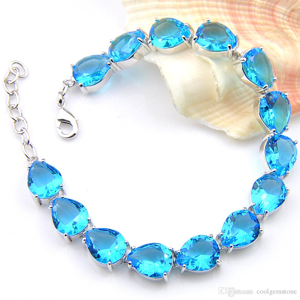 new fashion 2018 Simple and generous Sky Blue topaz gemstone 925 silver charm bracelet bohemian charm bracelet bangle B10444