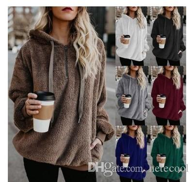 828d13bec68 2019 Pullovers Fashion Women Thicken Hoodie Outfit Autumn Winter Women  Casual Pullover 2018 Solid Color Warm Fleece Hooded Plus Size For Female  From ...