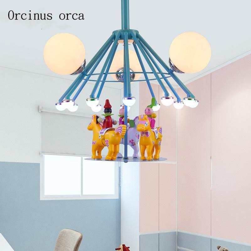 Cartoon kreative fröhlich gehen Runde Kronleuchter Jungen und Mädchen  Schlafzimmer Kinderzimmer leuchtet moderne Persönlichkeit LED Kronleuchter