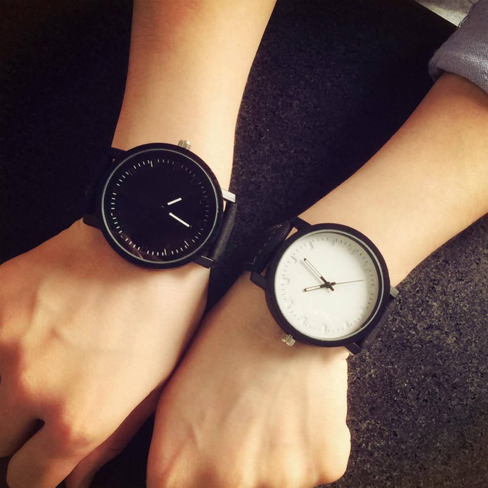 Reasonable Creative Unisex Leather Strap Watches Men Luxury Brand Men Watch For Lovers Black White Lady Quartz Women Dress Clock As Gift Watches