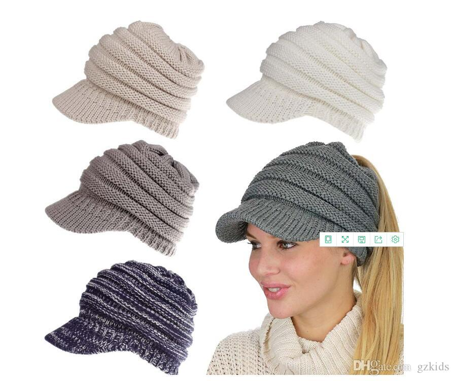 b9308b02902 BeanieTail Warm Knit Messy High Bun Ponytail Visor Beanie Cap Colored  Knitted Wool Hat Hat Wool Hats Cc Online with  5.49 Piece on Gzkids s Store