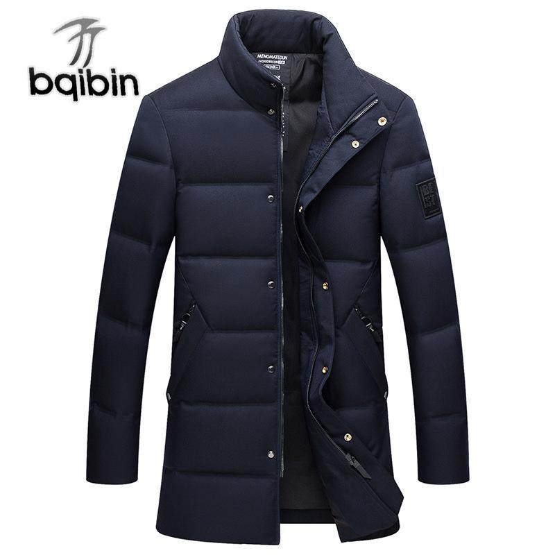 2019 Men S Winter Warm Long Down Jacket No Cap Stand Collar Thickening Men S  Winter Clothing Business Casual Solid Color Long Coat From Tuhua 2bbe4d0ddf2