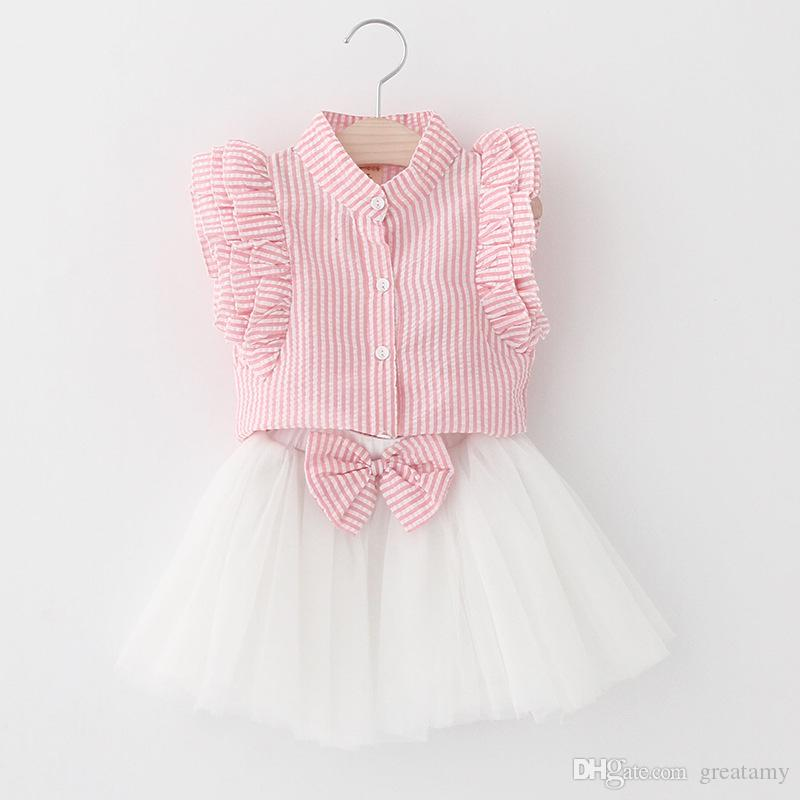 baby clothes girls striped tops+bow lace skirt clothing set girl's outfits children suit kids summer boutique clothes