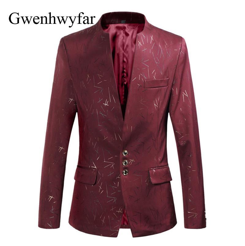 Compre Gwenhwyfar Hombres Primavera Otoño Vino Rojo Borgoña Estampado De  Flores Chaqueta De Traje Slim Fit Blazer Designs Trajes De La Etapa Para El  ... 9935804eb88