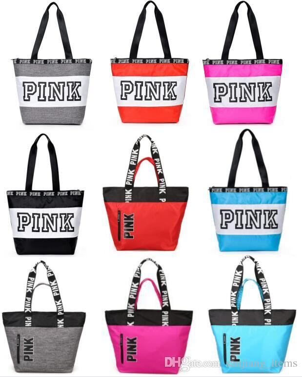 PINK Letter Women Handbags Shoulder Bags Gym Yoga Tote Bags Nylon  Waterproof Outdoor Travel Large Capacity Letter Storage Bags ROS Online with   11.14 Piece ... aa8e50eb12