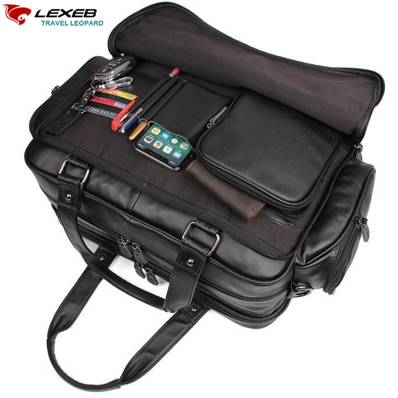 c761f122de63 LEXEB Full Grain Leather Men s Briefcase For 16 Laptop Soft Nappa Business  Travel Bag Classic Office Work Bags In Black