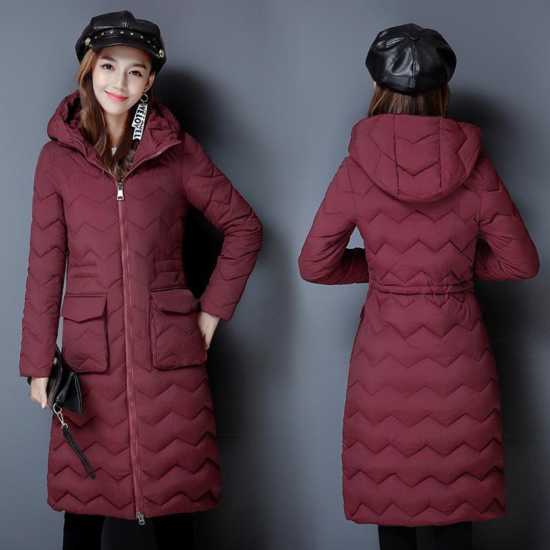 2018 neue lange Daunen Baumwolle gepolsterte Frauen Knie Verdickung große Größe schlank abnehmen Mantel warme Jacke