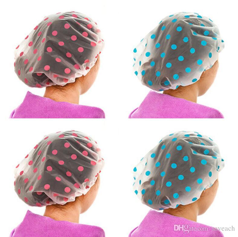 536d193fef2 2019 Waterproof Shower Cap Bath Hat Kitchen Hair Cover Dot Translucent Bathing  Cap For Women From Saveach