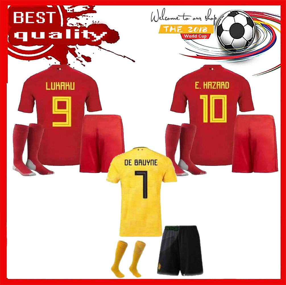 2019 2018 World Cup Belgium Kids Kits Soccer Jersey Full Sets LUKAKU  FELLAINI E.HAZARD KOMPANY DE BRUYNE Boys Child Youth Football Shirt Socks  From ... 691da2a02