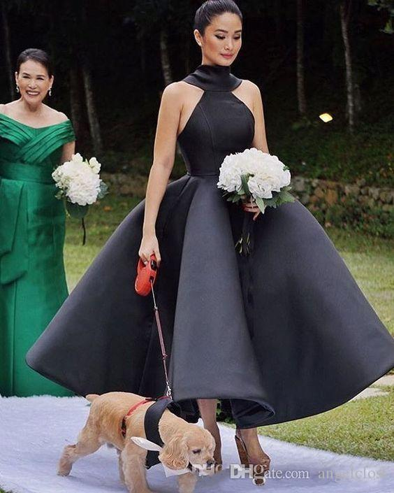 2019 Nuevo vestido de fiesta Vestidos de damas de honor negros Longitud del tobillo Sin mangas Arco grande Satén Jardín Cortos Vestidos de invitados de boda Personalizados Barato