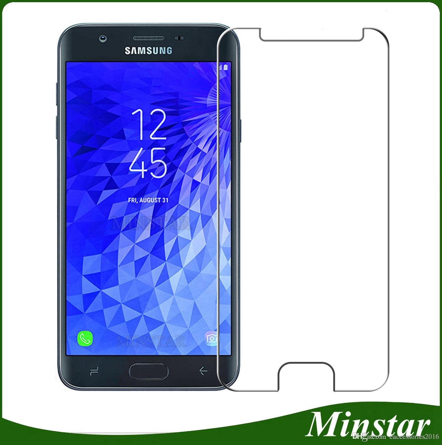 Newest Basic Tempered Glass for Samsung Galaxy J3 Achieve Star 2018 J337 J7 Refine Crown J737 Boost Mobile Metro PCS Clear Screen Protector J3 Achieve