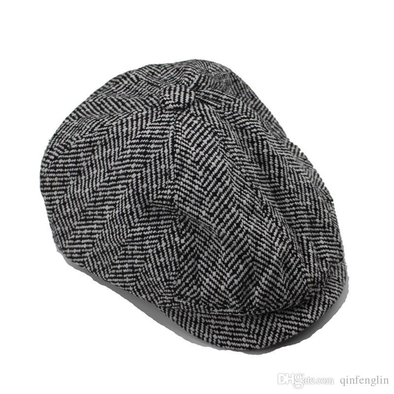6d6d6e0f ... Men's cap New Newsboy Caps Movie star Retro HERRINGBONE TWEED cap  Driving Men Wool Fleece Hat ...
