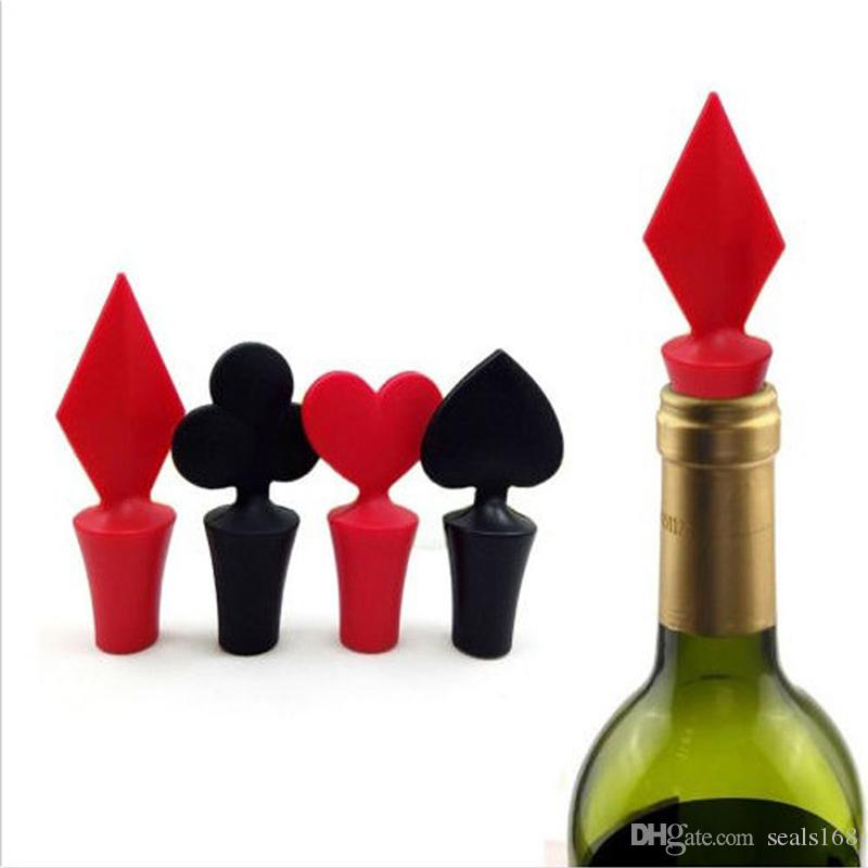 ba567c712f6 2019 Mini Wine Bottle Stoppers Poker Spades Silicone Heart Plug Cork Wine  Stoppers Party Home Wine Bottle Bar Kitchen Tools 4 Styles DHL HH7 1423  From ...