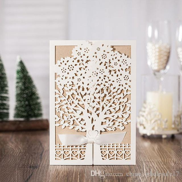 Sample White Tree Laser Cut Marriage Wedding Invitations Cards Greeting Card Postcard With Ribbon Event Party Supplies