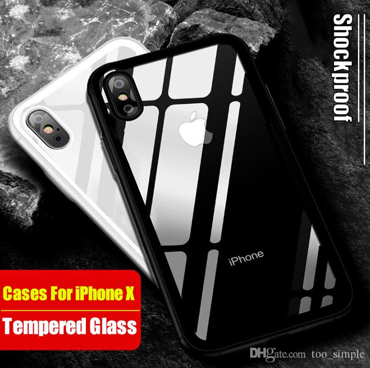 free shipping 48708 fbc2f NEW Custom Design For iPhone X Tempered Glass Back Cover Mirror Case Hybrid  Protect Cover Shock Absorption Bumper For iphone 7 6 Plus