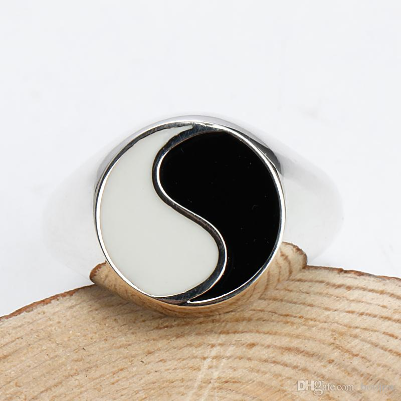 Tai chi Yin Yang Gossip Ring Epoxy Rings Men Antique 925 Sterling Silver Finger Ring Jewelry For Men and Women