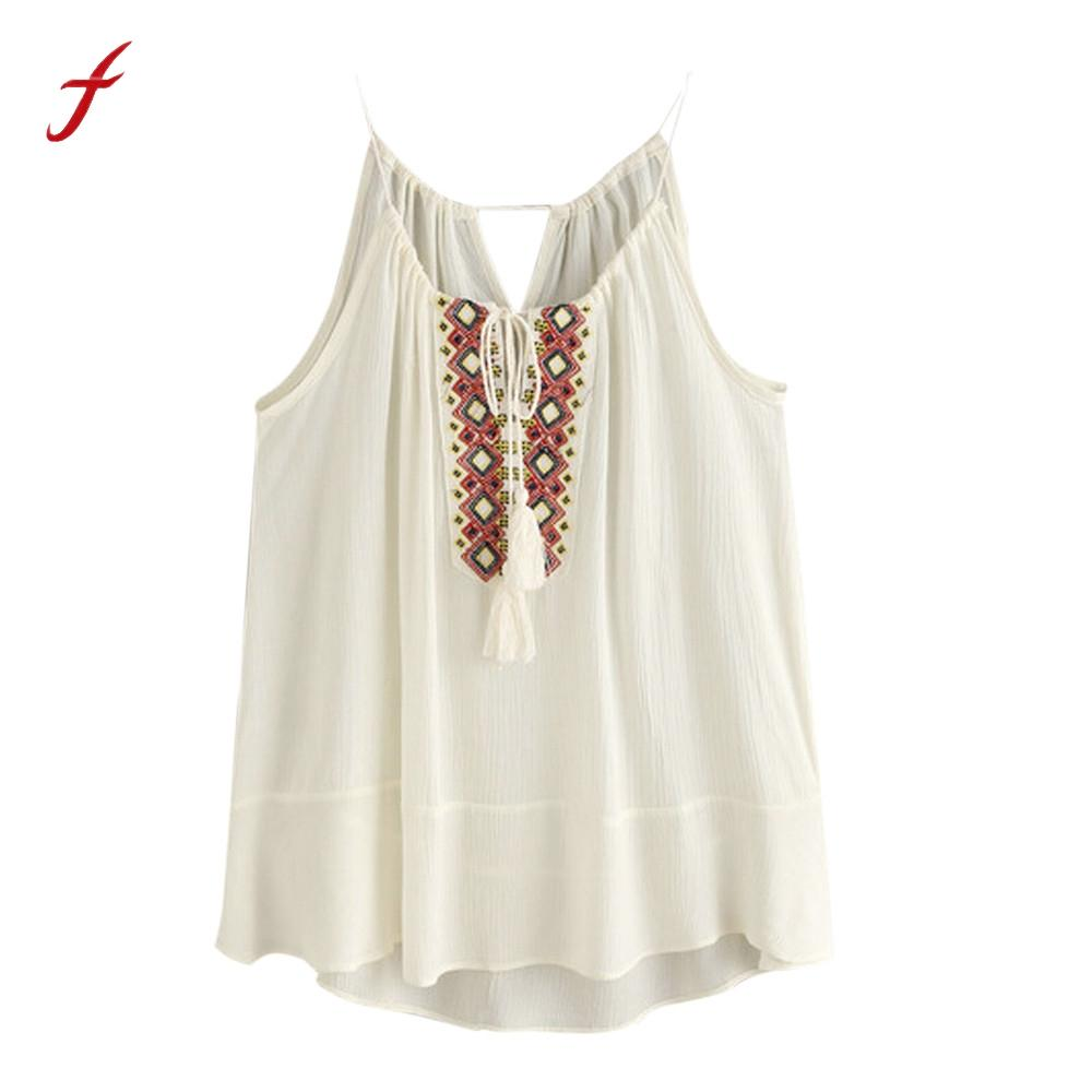 edd725e5a24e29 2019 Feitong Boho Summer Women Tank Tops 2018 Fashion Loose Sleeveless  Miter Embroidered Tassel Casual Crop Tops Vest Blusa Feminina From  Junqingy