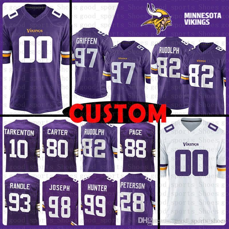 5684b5adc Custom Minnesota Vikings Jersey 80 Cris Carter 10 Fran Tarkenton 97 ...