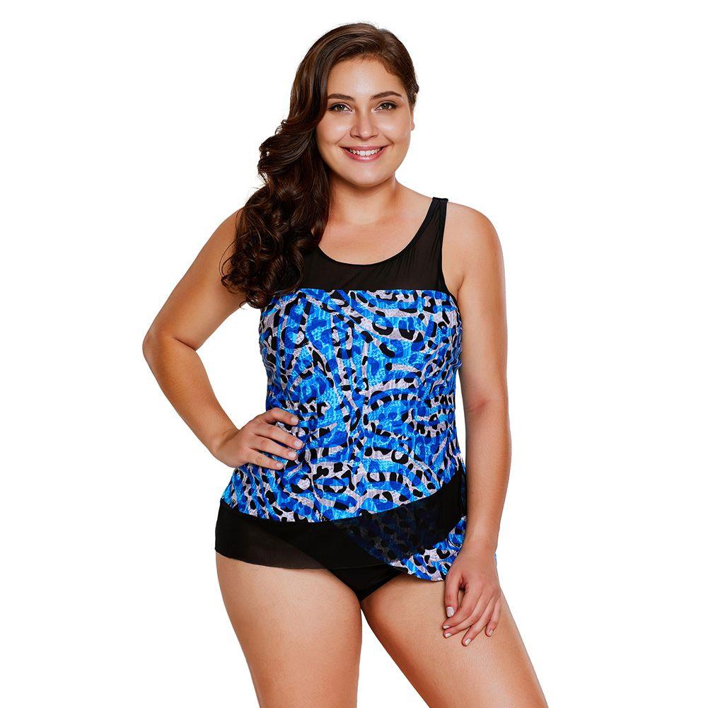 251c680709105 2018 Seaglass Mirage Asymmetric Mesh Tankini Swimsuit Plus Size ...