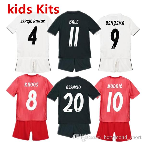 51b8cbe16 Cheap 2019 Kids Kit ISCO ASENSIO Football Jersey 18-19 Home White Away Boy  Soccer Jerseys BALE KROOS Child 3rd Red Soccer Shirts Real Madrid