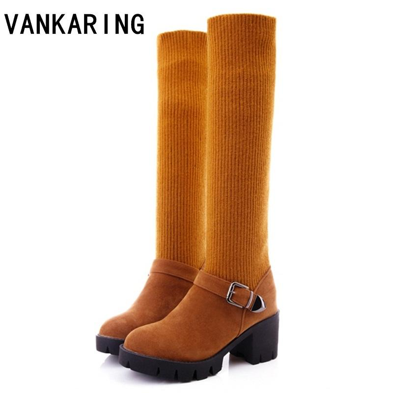 fb8cdcb2 VANKARING otoño invierno botas mujeres tacones altos moda calcetín de lana  botas de tobillo acogedor cálido nieve zapatos mujeres rodilla alta