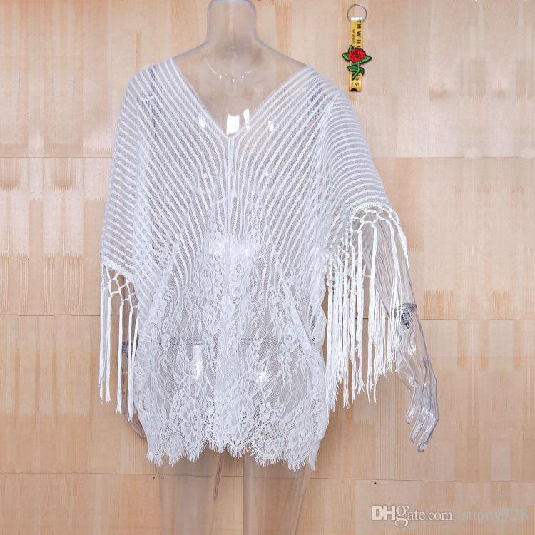 Newest 2018 White Lace See Through Short Bikini Cover ups V Neck Tassel Long Sleeves Short Swimwear Rash Guards Tops Beach High Quality