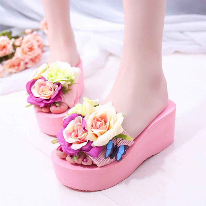 1bf563edc9c4a2 ... Summer Shoes Women Flowers Flip Flops Woman Beach Shoes Slides Sandals  Sweet Zapatos Mujer Online with  40.75 Piece on Tengdingshoe s Store
