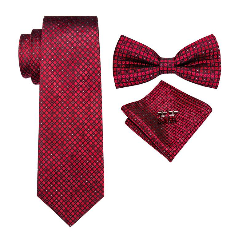 Satın Al Hi Kravat Lüks Marka Kırmızı Ipek Kravatlar Erkekler Için
