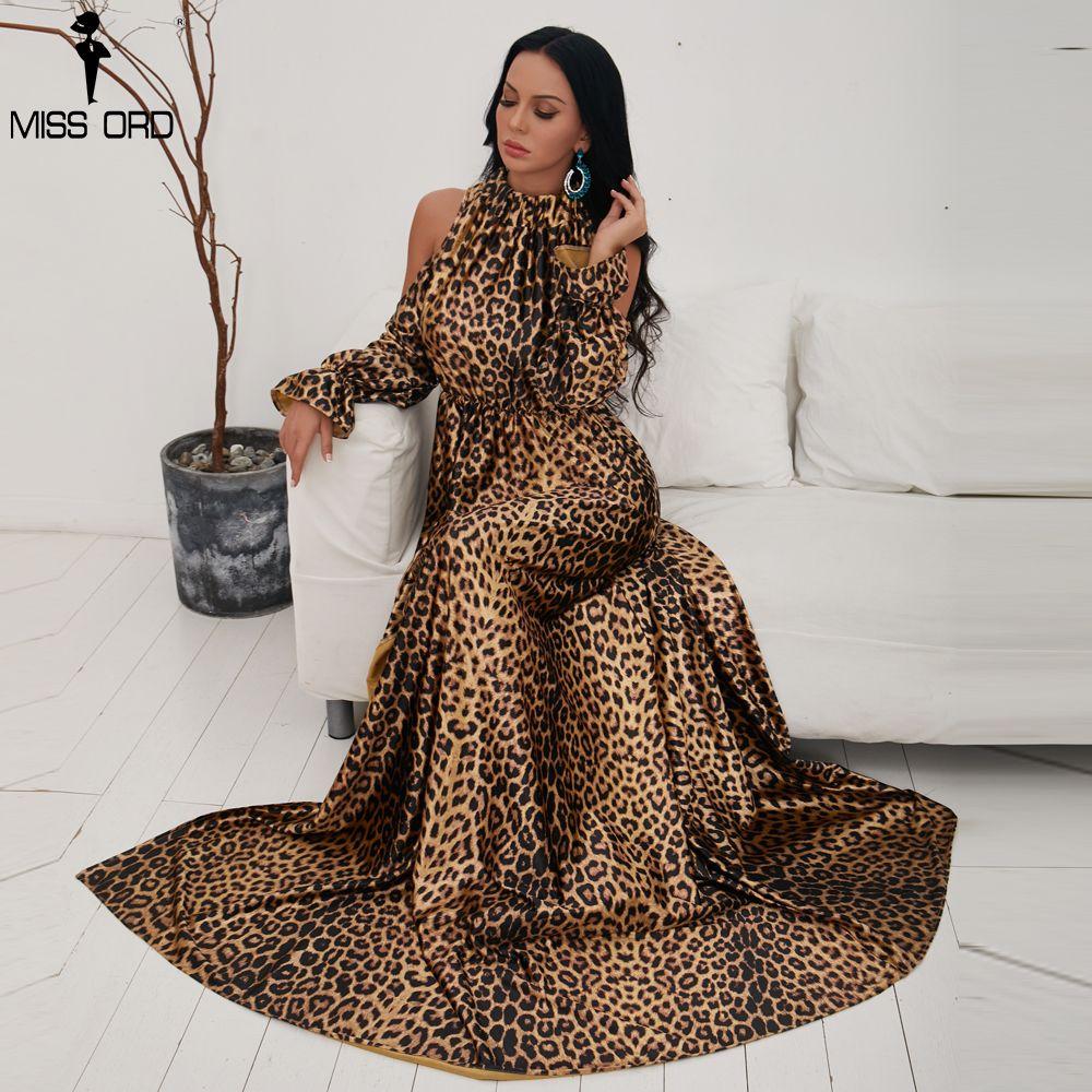 2019 Missord 2018 Sexy High Neck Off Shoulder Long Sleeve Dresses Female Leopard  Print High Split Maxi Elegant Dress Vestdios FT9703 From Lichee666 ad15d718a