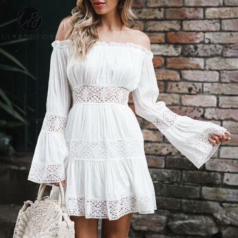 e2c147115f37 Wholesale Rosie Girl Flare Long Sleeve Lace Short Dress Beach Boho Party  Casual Dress Elegant White Off Shoulder Dress Vestidos Purple Dresses  Winter ...