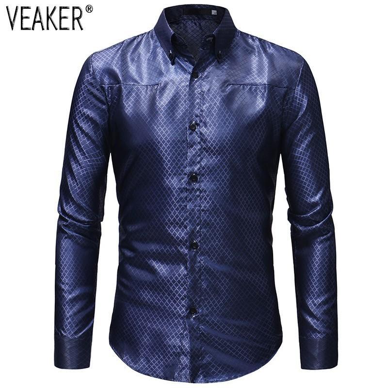 watch 846f9 067d0 Camicie di raso di seta degli uomini nuovi Autunno 2018 maschio nero blu  camicia a maniche lunghe plaid manica lunga Slim Fit Business Camicie M-3XL