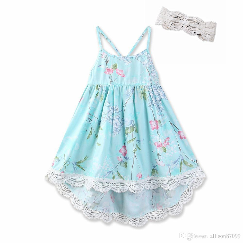 4e3c08ef3650 2019 2018 Floral Printed Dresses For Girl Lace Slip Dress Vintage High  Waist Spaghetti Strap Back Cross Straps Dress 100% Cotton Boutique Summer  From ...