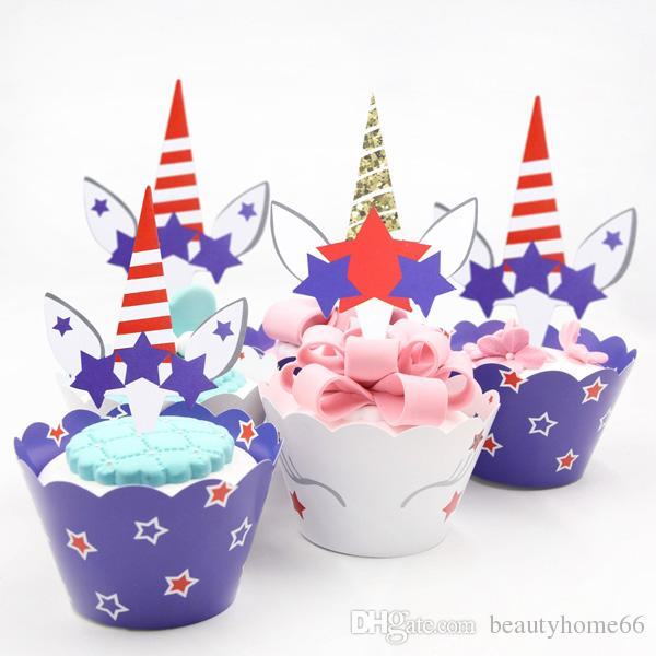 Two Sided Printing DIY Star Unicorn Party Cake Topper Wedding Birthday Party Decorations Cupcake Halloween Xmas Paper Supplies