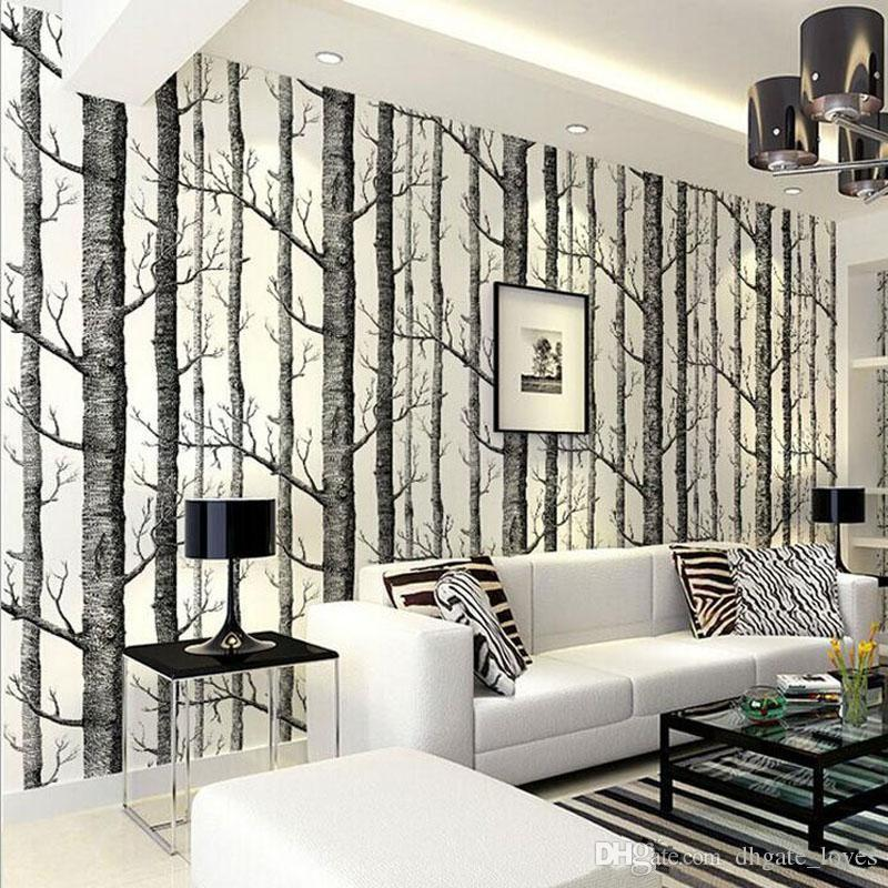 10 Meter Lot Birch Tree Woods Wallpaper Non Woven Roll Modern Designer Wallcovering Simple Wallpaper For Living Room Gbn 018