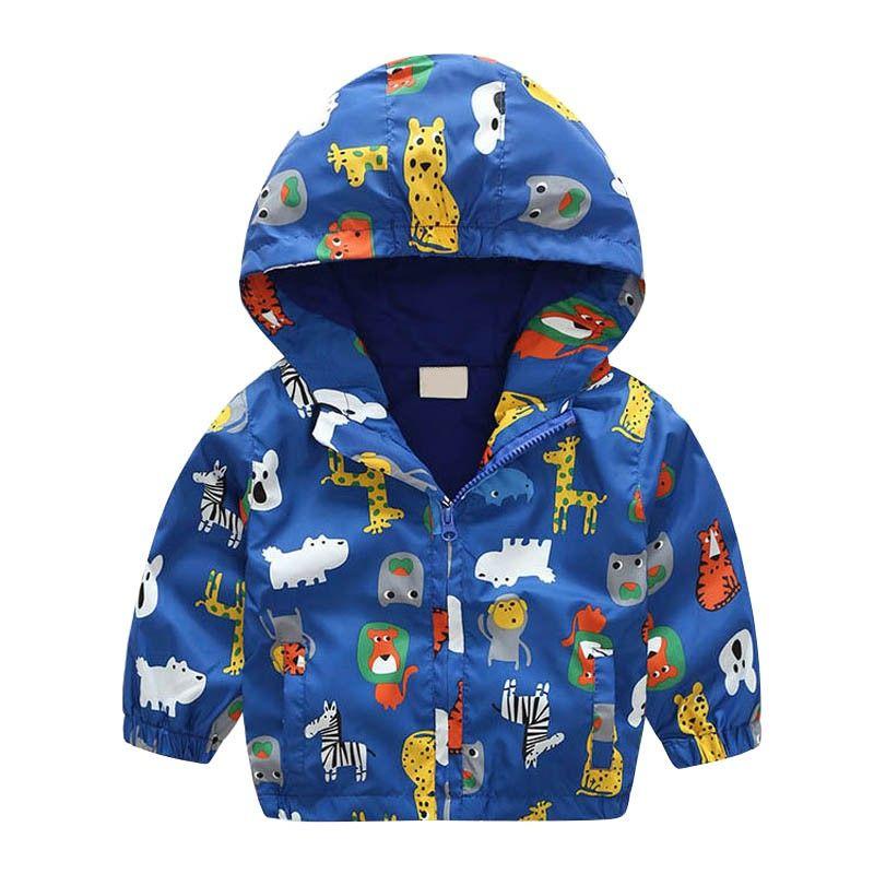 2017 Autunno Inverno Bambini Ragazzi Ragazze Animali carini Stampato blu con cappuccio Cappotti freddi Tuta sportiva calda bambini Tuta sportiva