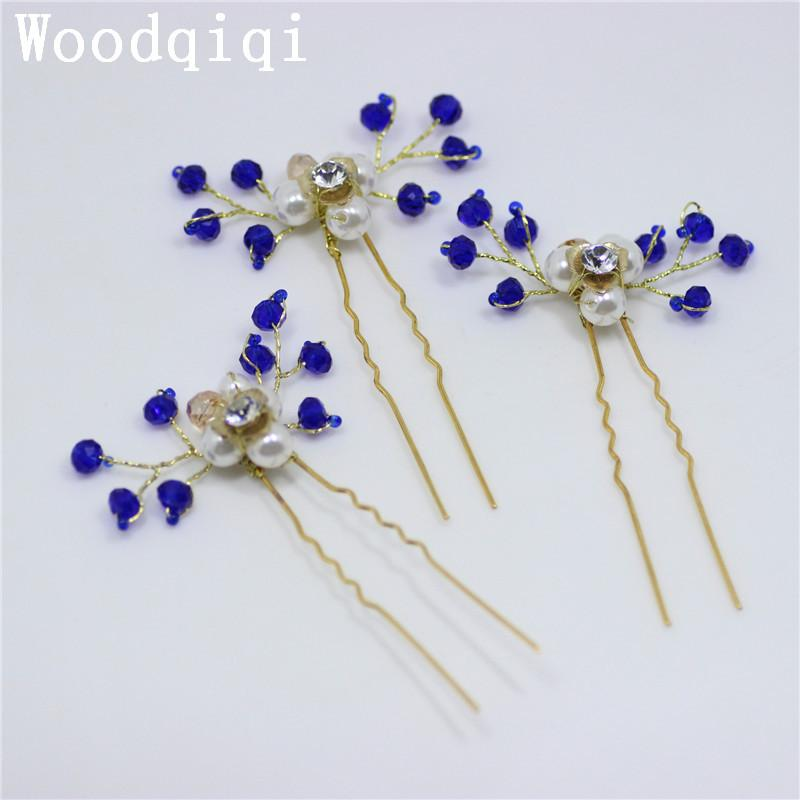 Woodqiqi 3pcs/lot fashion blue Hairpin Crystal pearl Wedding For Women Hair Clip Simple Jewelry Accessories S926