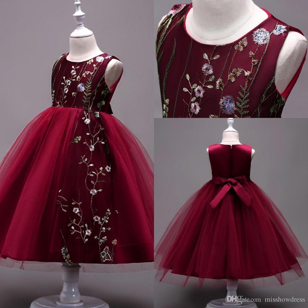 f3295db6cc30 Lace Little Kids Infant Flower Girl Dresses Princess Crew Neck Tulle ...