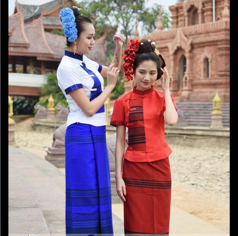 ff3fee4da 2019 Oriental Thai Traditional SaBai Dress Cloth Silk Synthetic Thailand  National Costume New Dai Traditional Clothing Thailand Southeast Asia From  ...