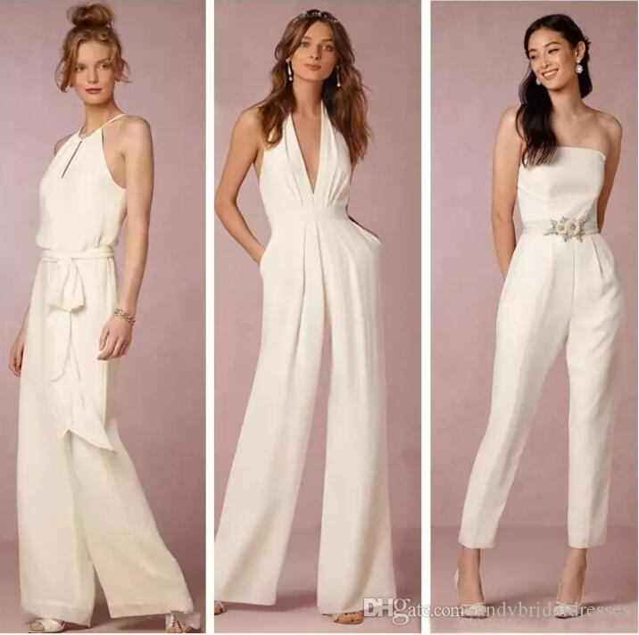5bf22211ed26 New 2019 Ivory Jumpsuit Bridesmaid Dresses For Wedding Sheath Backless  Wedding Guest Gowns Plus Size Pant Suit Beach Honor Of Maid Cheap Midnight  Blue ...