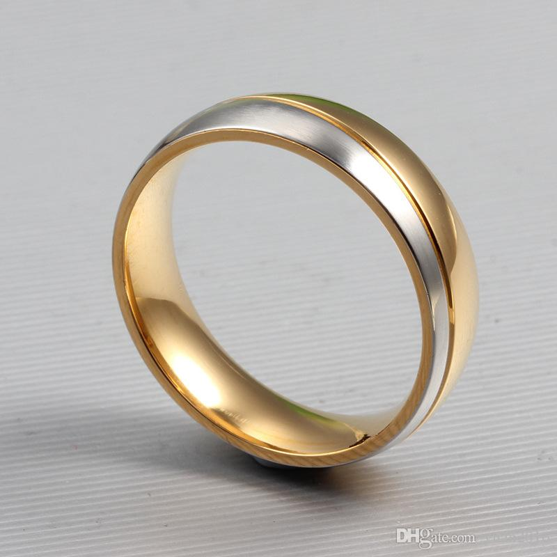 Anillo de bodas para las mujeres Hombre Oro-color 6mm 316l Acero inoxidable Promise Jewelry ¡Venta caliente!