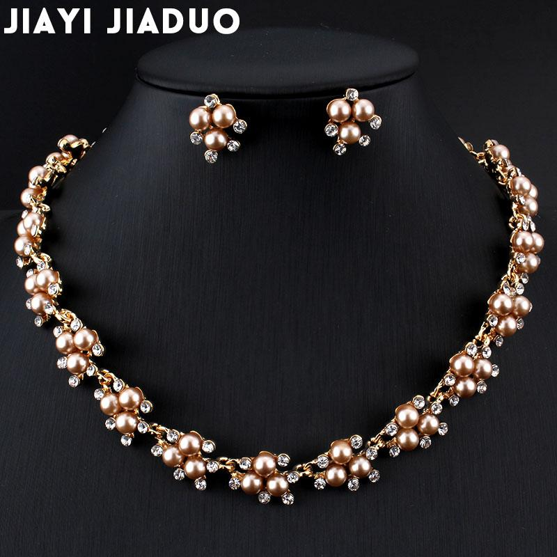 jiayijiaduo Evening dress wedding imitation pearl jewelry set necklace earrings for charm women clothing accessories gold color